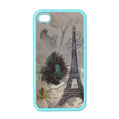 Floral Vintage Paris Eiffel Tower Art Apple iPhone 4 Case (Color)