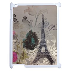 Floral Vintage Paris Eiffel Tower Art Apple iPad 2 Case (White)