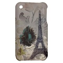 Floral Vintage Paris Eiffel Tower Art Apple iPhone 3G/3GS Hardshell Case