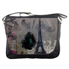 Floral Vintage Paris Eiffel Tower Art Messenger Bag