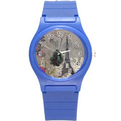 Floral Vintage Paris Eiffel Tower Art Plastic Sport Watch (Small)