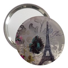 Floral Vintage Paris Eiffel Tower Art 3  Handbag Mirror