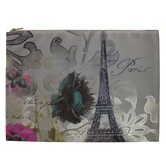 Floral Vintage Paris Eiffel Tower Art Cosmetic Bag (xxl)