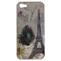 Floral Vintage Paris Eiffel Tower Art Apple Iphone 5 Hardshell Case