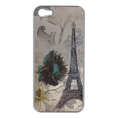 Floral Vintage Paris Eiffel Tower Art Apple Iphone 5 Case (silver)
