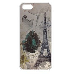 Floral Vintage Paris Eiffel Tower Art Apple iPhone 5 Seamless Case (White)