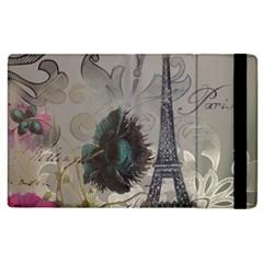 Floral Vintage Paris Eiffel Tower Art Apple Ipad 3/4 Flip Case