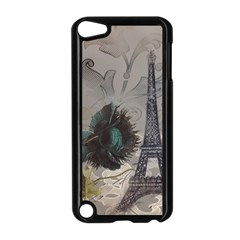 Floral Vintage Paris Eiffel Tower Art Apple Ipod Touch 5 Case (black)