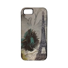 Floral Vintage Paris Eiffel Tower Art Apple iPhone 5 Classic Hardshell Case (PC+Silicone)