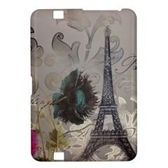 Floral Vintage Paris Eiffel Tower Art Kindle Fire Hd 8 9  Hardshell Case