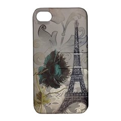 Floral Vintage Paris Eiffel Tower Art Apple iPhone 4/4S Hardshell Case with Stand