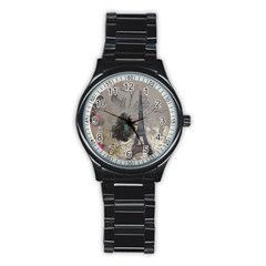 Floral Vintage Paris Eiffel Tower Art Sport Metal Watch (Black)