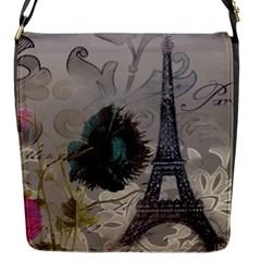 Floral Vintage Paris Eiffel Tower Art Flap Closure Messenger Bag (small)