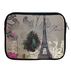 Floral Vintage Paris Eiffel Tower Art Apple iPad 2/3/4 Zipper Case