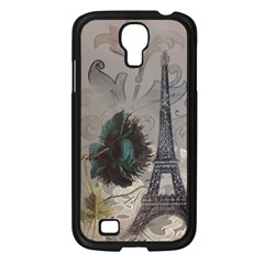 Floral Vintage Paris Eiffel Tower Art Samsung GALAXY S4 I9500/ I9505 (Black)