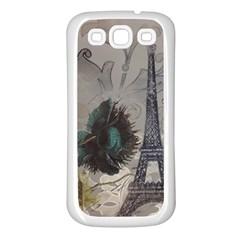 Floral Vintage Paris Eiffel Tower Art Samsung Galaxy S3 Back Case (White)