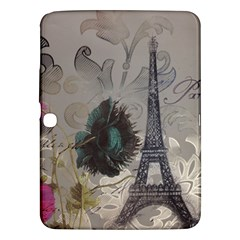 Floral Vintage Paris Eiffel Tower Art Samsung Galaxy Tab 3 (10.1 ) P5200 Hardshell Case