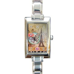 Fuschia Flowers Butterfly Eiffel Tower Vintage Paris Fashion Rectangular Italian Charm Watch