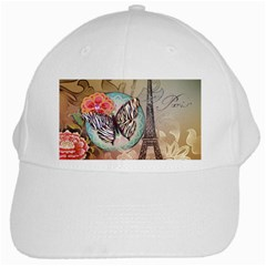 Fuschia Flowers Butterfly Eiffel Tower Vintage Paris Fashion White Baseball Cap