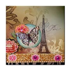 Fuschia Flowers Butterfly Eiffel Tower Vintage Paris Fashion Ceramic Tile