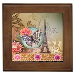 Fuschia Flowers Butterfly Eiffel Tower Vintage Paris Fashion Framed Ceramic Tile
