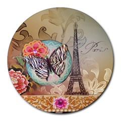 Fuschia Flowers Butterfly Eiffel Tower Vintage Paris Fashion 8  Mouse Pad (Round)
