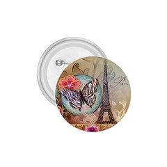 Fuschia Flowers Butterfly Eiffel Tower Vintage Paris Fashion 1.75  Button
