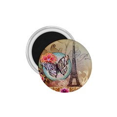 Fuschia Flowers Butterfly Eiffel Tower Vintage Paris Fashion 1.75  Button Magnet