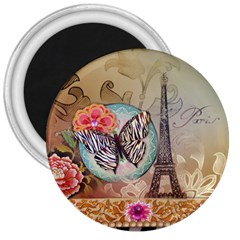 Fuschia Flowers Butterfly Eiffel Tower Vintage Paris Fashion 3  Button Magnet