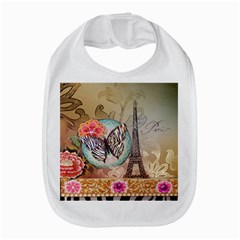 Fuschia Flowers Butterfly Eiffel Tower Vintage Paris Fashion Bib