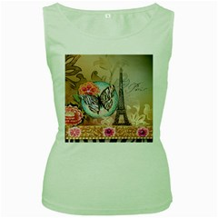 Fuschia Flowers Butterfly Eiffel Tower Vintage Paris Fashion Womens  Tank Top (Green)