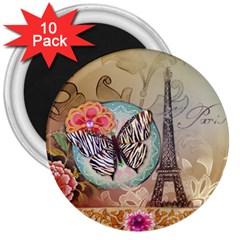 Fuschia Flowers Butterfly Eiffel Tower Vintage Paris Fashion 3  Button Magnet (10 Pack)