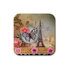 Fuschia Flowers Butterfly Eiffel Tower Vintage Paris Fashion Drink Coasters 4 Pack (Square)