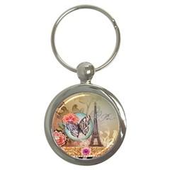 Fuschia Flowers Butterfly Eiffel Tower Vintage Paris Fashion Key Chain (round)