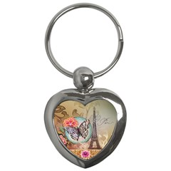 Fuschia Flowers Butterfly Eiffel Tower Vintage Paris Fashion Key Chain (Heart)