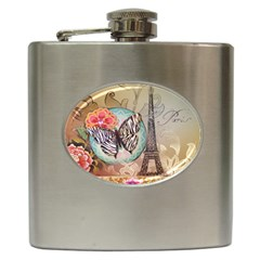 Fuschia Flowers Butterfly Eiffel Tower Vintage Paris Fashion Hip Flask