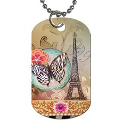 Fuschia Flowers Butterfly Eiffel Tower Vintage Paris Fashion Dog Tag (Two-sided)