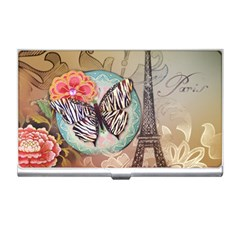 Fuschia Flowers Butterfly Eiffel Tower Vintage Paris Fashion Business Card Holder