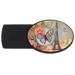 Fuschia Flowers Butterfly Eiffel Tower Vintage Paris Fashion 2GB USB Flash Drive (Oval)