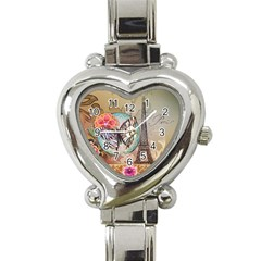 Fuschia Flowers Butterfly Eiffel Tower Vintage Paris Fashion Heart Italian Charm Watch