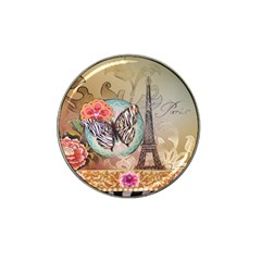 Fuschia Flowers Butterfly Eiffel Tower Vintage Paris Fashion Golf Ball Marker (for Hat Clip)