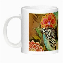 Fuschia Flowers Butterfly Eiffel Tower Vintage Paris Fashion Glow In The Dark Mug