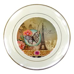 Fuschia Flowers Butterfly Eiffel Tower Vintage Paris Fashion Porcelain Display Plate