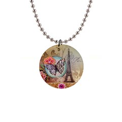 Fuschia Flowers Butterfly Eiffel Tower Vintage Paris Fashion Button Necklace
