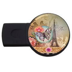 Fuschia Flowers Butterfly Eiffel Tower Vintage Paris Fashion 4GB USB Flash Drive (Round)