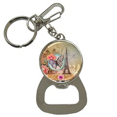 Fuschia Flowers Butterfly Eiffel Tower Vintage Paris Fashion Bottle Opener Key Chain