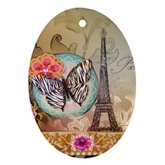 Fuschia Flowers Butterfly Eiffel Tower Vintage Paris Fashion Oval Ornament (Two Sides)