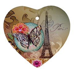 Fuschia Flowers Butterfly Eiffel Tower Vintage Paris Fashion Heart Ornament (Two Sides)