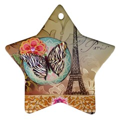 Fuschia Flowers Butterfly Eiffel Tower Vintage Paris Fashion Star Ornament (Two Sides)