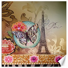 Fuschia Flowers Butterfly Eiffel Tower Vintage Paris Fashion Canvas 12  X 12  (unframed)